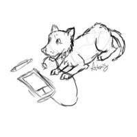 Tablet Dog Sketch by DaggarHeart