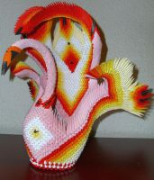origami swan red orange by Floorin333