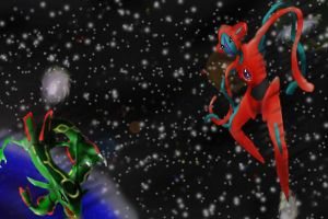 Deoxys and Rayquaza by WrenShimmamora