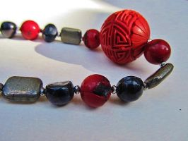 Red Maze Beaded Necklace by SadiesAccessories