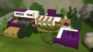 Sims 3 Modern purple house by RamboRocky