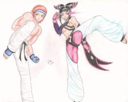 hwoarang and juri by hinomotoani