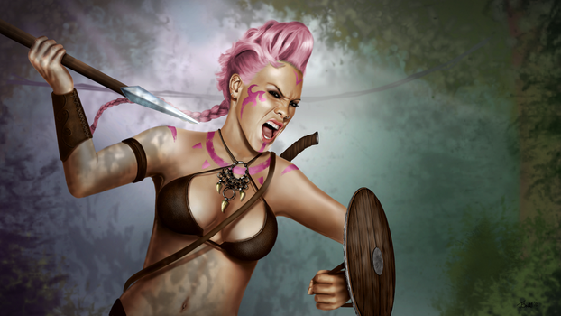 The Pink Warrior GIMP Drawing by Britsie1