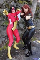 Spider Woman and Black Widow by abisue