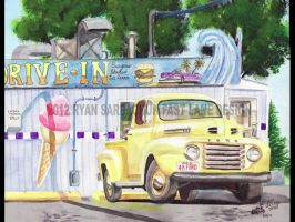 1948 Ford F Series Pickup At Angel's Drive In by FastLaneIllustration