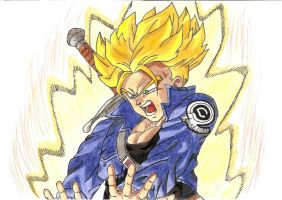 SSJ Trunks (burning attack) by Pademo