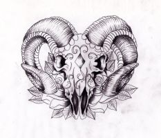 Rams head sugarskull Sketch by Nevermore-Ink