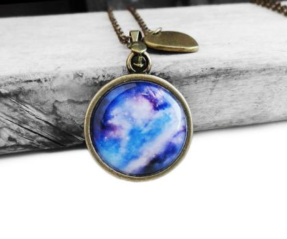 Vintage Bronze Blue Purple Galaxy Heart Necklace by crystaland