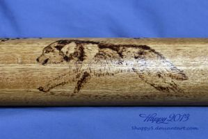 Running Wolf Pyrography on Flute by 5Happy5