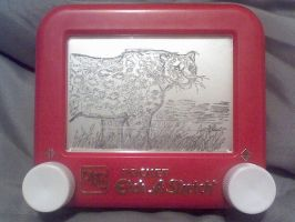 Etch a Sketch- Leopard by jivu