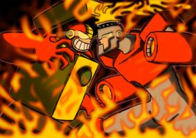 Heatman vs Fireman. by BlueStrikerBomber