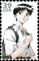 Evangelion Stamp- Shinji by Ryglore