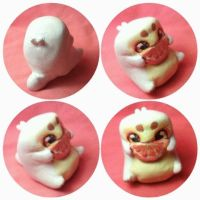Cute orange mochi dragon clay miniature by PinkDonutArt
