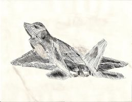 F-22 Crosshatching+inkwash v3 by AerospacerJ