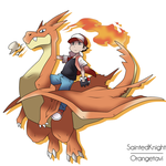 Mega Charizard Y and Red by SaintedKnight
