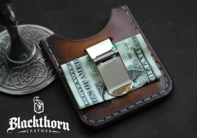 Money Clip Card Wallet - Back by Blackthornleather