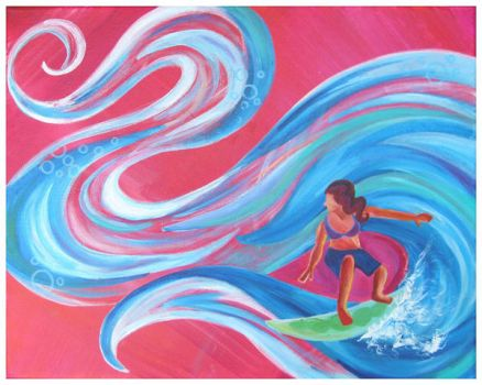 Surfing in Pink by Blue-Whisper