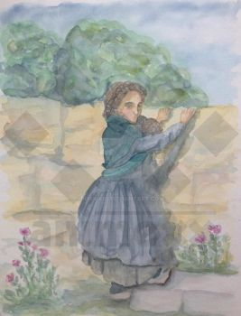 Behind the wall -  water colour - Historic girl by kirika85
