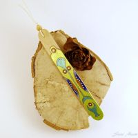 Sold - Bookmark Pyrography Hand Painted metallic by SuniMam