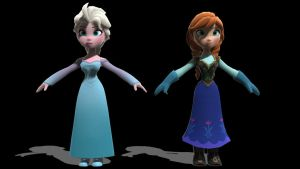 Elsa and Anna from Disney Infinity in MMD! by Action528