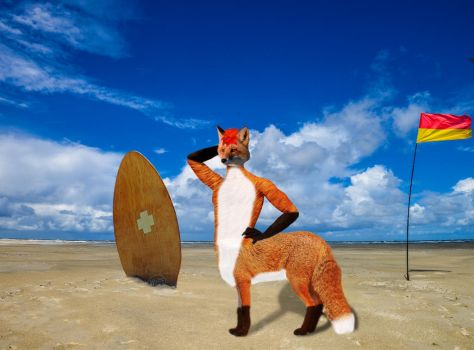 Foxtaur posing at the beach by Macmaker101