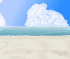Anime Style Beach Background by wbd