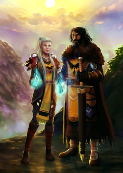 Commission : A Swordman and a Mage by ForeverMedhok