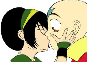 Toph kiss Aang color by sangoten-style