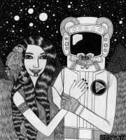 Girl with Ancient Astronaut by bethywilliams