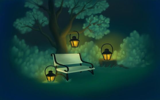 Lanterns in the park by Dharma-Romo