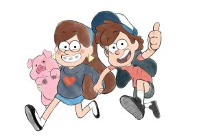 Mabel_Dipper_Waddles by vetrofroza