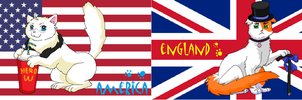 Nekotalia: USA and UK (flags) by Marshcold