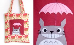 Smiling Totoro bag with umbrella by yael360