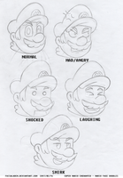 Super Mario Enchanted Sketch - Mario Face Doodles by FaisalAden