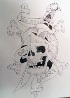 Ed Hardy Skull Drawing by Stacey2512
