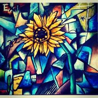 Cubist Flower 2 by SarahJuddArt