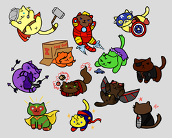 CatVengers Stickers (Available on Etsy) by QueenCrabbyBlue
