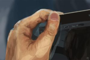 Left Hand Holding Tablet study by Jeffufu
