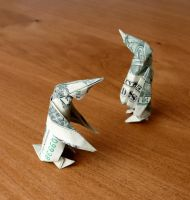 Dollar Origami Penguins by craigfoldsfives