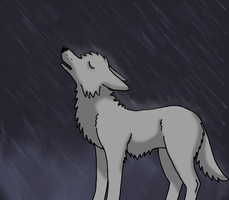 Howling In The Rain by NinetailedFoxGirl