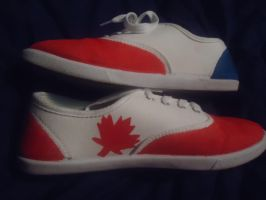French and Canadian Flag shoes by MaplePucks
