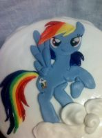 Rainbow Dash 2D Fondant Topper by Qess