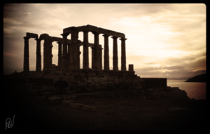 Sunset at Cape Sounion by Ayshel