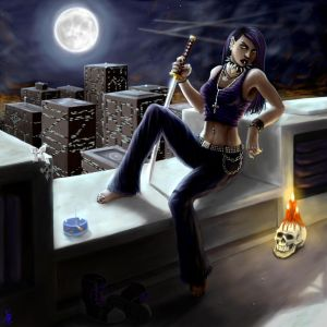Nightblade on the Rooftop by Spacegryphon