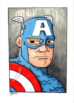 Captain America 5x7 Sketch Card by rustythewonderdog
