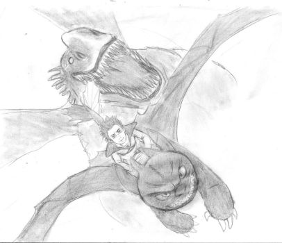 Hiccup and Toothless Vs Green Death - Sketch by KatyTorres