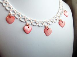 Peach Mother or Pearl Hearts Choker by Any-Design-Jewelry