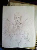 .:Commission:. Castiel the Angel {WIP} by Pirategirl28