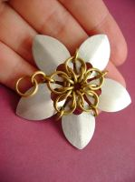 Silver and Brass Scalemaille Flower Pendant by monsterkookies