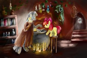 MLP Zecora and Applebloom by Shizyaa